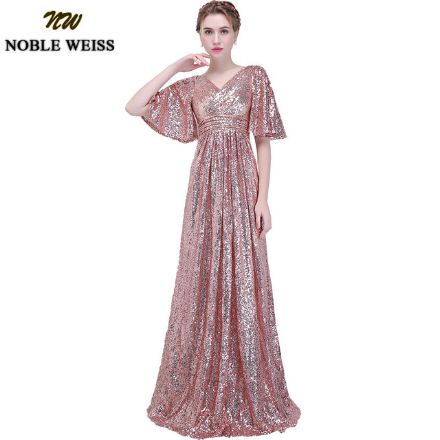 NOBLE WEISS Elegant Pink Sequined Prom Dresses 2019 Sexy V Neck Long Vestido De Festa for Party Gowns African Dress Pageant Wear