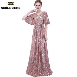Image 1 - Noble weiss elegante rosa lantejoulas vestidos de baile 2019 sexy com decote em v longo vestido de festa para vestidos de festa africano pageant wear