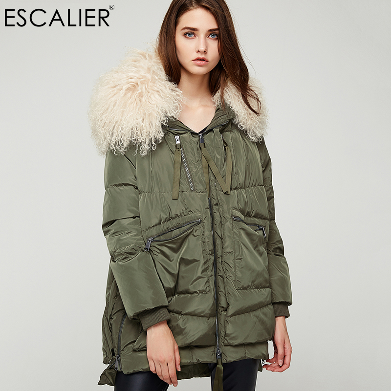 Escalier Down Coats 2017 Women Long Parka Removable Wool Fur Hooded Winter Thick long type Down Jacket