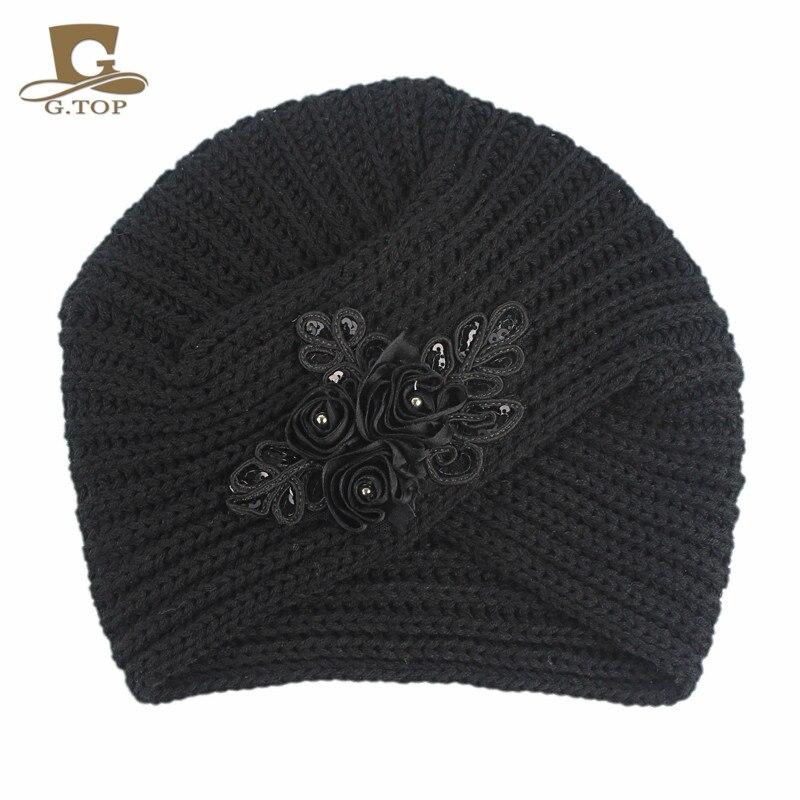 Nueva moda de invierno cruzado knit beanie estilo turbante Gorro con  lentejuelas flor acento en Las mujeres accesorios para el pelo de  Accesorios de ropa en ... 8996d85095c