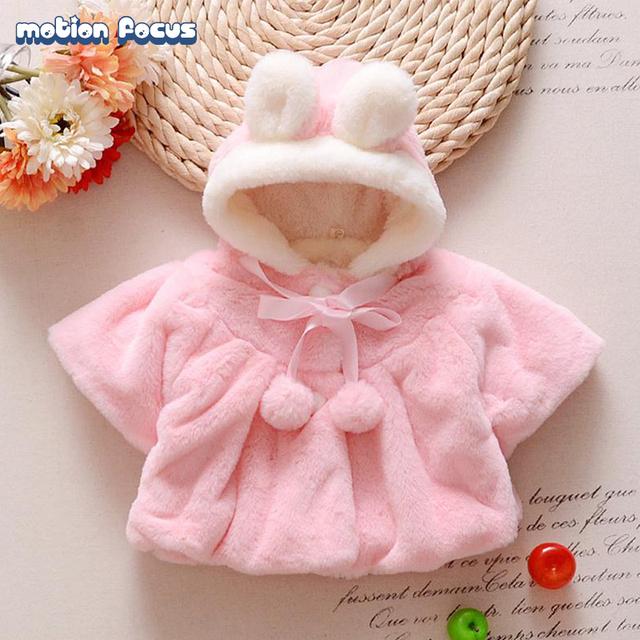 Qualidade superior de Inverno Do Bebê Meninas da Pele Do Falso Com Capuz Casaco Cardigan Outwear Manto de Lã Macia Do Bebê Recém-nascido Da Criança Roupas Para A Menina