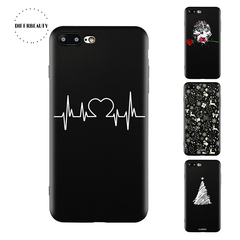 Galleria fotografica DIFFRBEAUTY New Tiger Cute Line Love Christmas Tree ECG Phone Case Coque For iPhoneX 8P 6S 7 6Plus 5 5SE Soft TPU Black Silicone