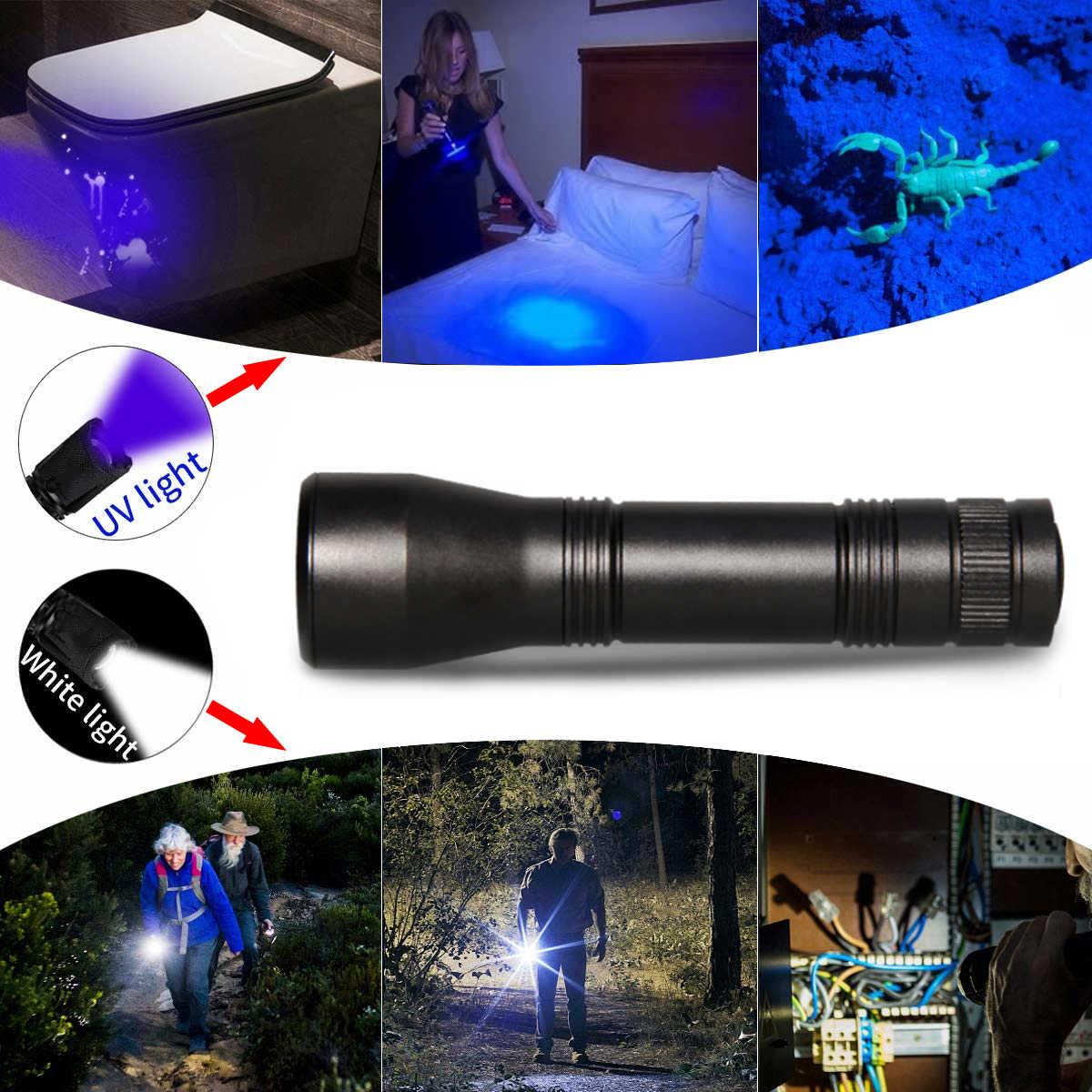 8000 Lums LED UV פנס UV אור L2/T6 לבן אור LED לפיד אור 5 מצב Zoomable 395nm Blacklight על ידי 18650 סוללה