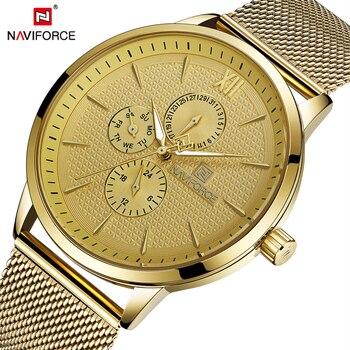 NAVIFORCE Nf 3003 Mens Watches Top Brand Luxury Gold Quartz Watches Men Fashion