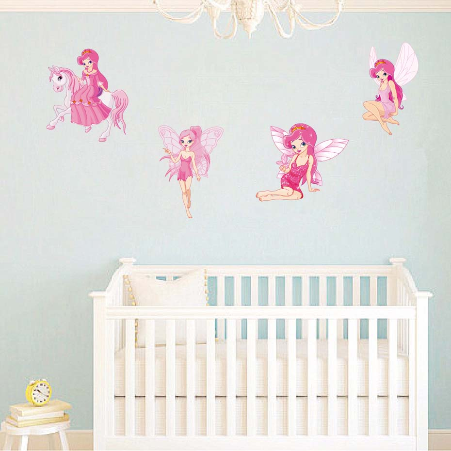 Fairy Princess Batterfly Wall Decals For Girls Baby Bedroom Vinyl Wall Sticker Home Decor Removable Wallpaper For Christmas Gift (7)
