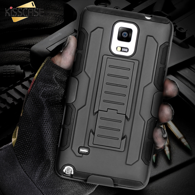 quality design 7d9e2 299a4 US $4.39 12% OFF|KISSCASE Cool Military Impact Rugged Hybrid Case For  Samsung Galaxy S4 S5 Note 3 4 5 S6 Edge Plus S7 Heavy Duty Kickstand  Cover-in ...