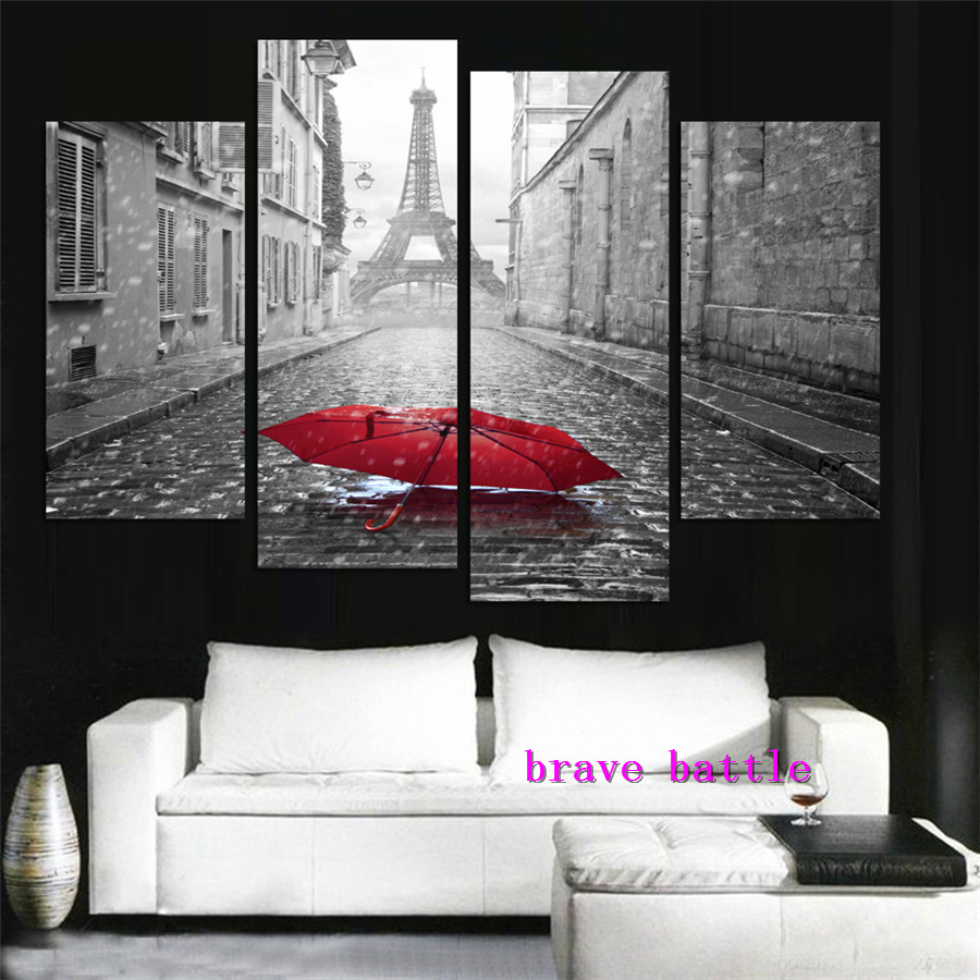 London Paris City Scenery Canvas Painting Living Room Home Decor Modern Mural Art Oil Painting