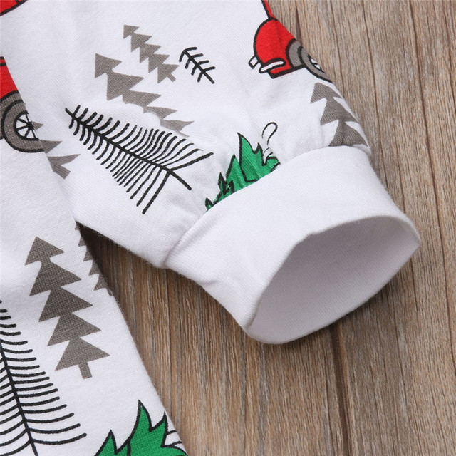 pudcoco Xmas Newborn Baby Boy Girl Romper Christmas Tree Car Rompers Cotton Boys Girls single breasted Romper Outfit Clothes