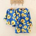Vestidos filha da mãe 2015 outono inverno da marca roupas família girassol Floral A - linha Dobby filha da mãe correspondência roupas