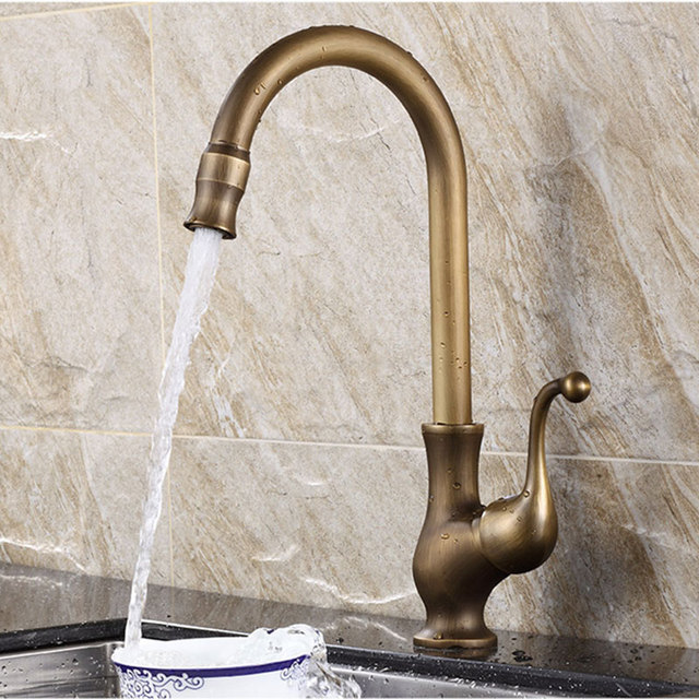 Aliexpress.com : Buy European style brass antique kitchen faucet ...