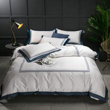 Luxury White 100%Cotton Bedding set Hotel Bed sheet Fitted Queen King size Duvet coverropa de cama linge lit