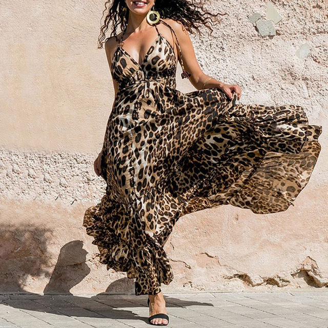 152f8f5973c9c Dress Women Summer Bohemian Sleeveless Backless Deep V Neck Maxi Ladies  Vintage Leopard Print Dresses Party Beachwear D30