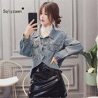 Heavy Denim Short Coat Punk Rock Jeans Jacket 2019 Autumn Rivet Hip Hop Denim Coat Diamonds High Waist Harajuku Bomber Jacket