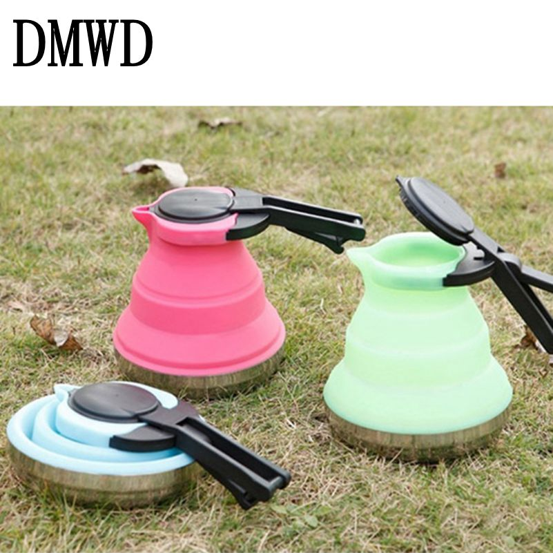 DMWD Portable Kettle instant Heating Boiling Pots Silicone Foldable Travel Teapot 1.7L Stainless Steel Bottom hot Water Boiler dmwd split style stainless steel quick heating auto electric kettle hot water boiler tea pot heater teapot eu us plug 1800w 1 8l