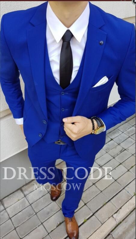 2018 Tailored Royal Blue Suit Men Tuxedo Slim Fit 3 Piece Custom Groom Prom Men Wedding Suits Blazer Terno Jacket+Pant+Vest