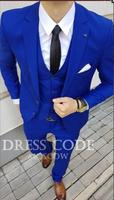 2018 Tailored Royal Blue Suit Men Tuxedo Slim Fit 3 Piece Custom Groom Prom Men Wedding Suits Blazer Terno Jacket+Pant+Vest