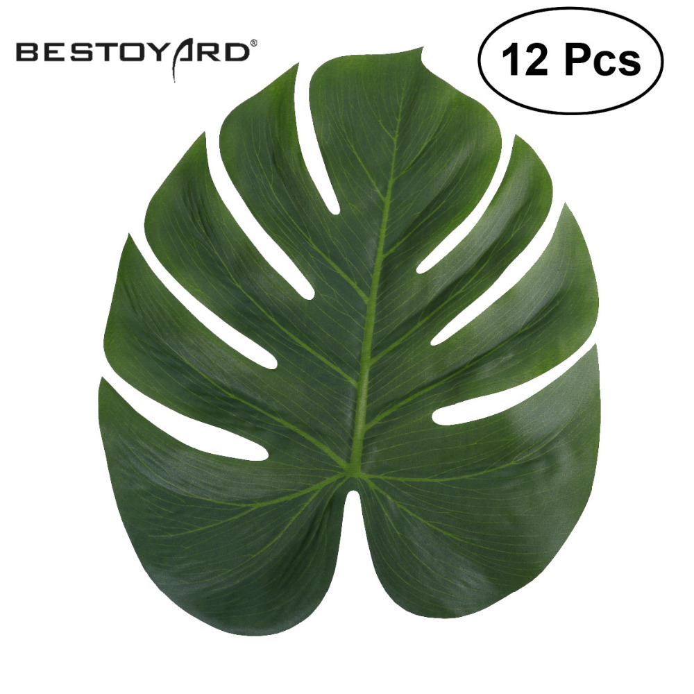 12pcs artificial leaf 35x29cm tropical palm leaves simulation leaf for hawaiian luau theme party. Black Bedroom Furniture Sets. Home Design Ideas