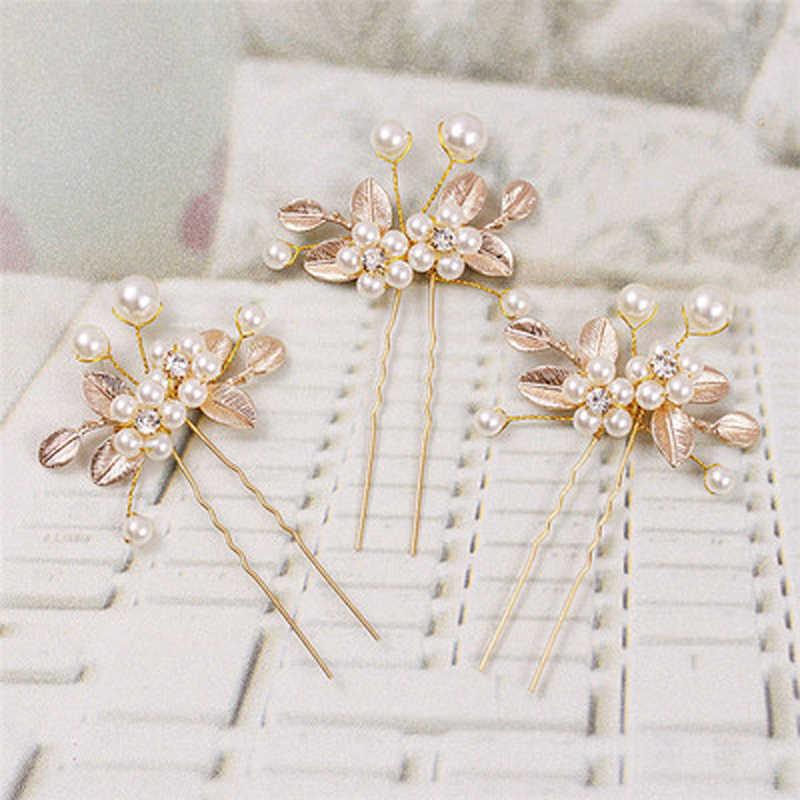 Vintage or cheveux accessoires pour femmes mariage perle strass tiare épingles à cheveux Clips feuilles de mariée cheveux bâtons bijoux ornement