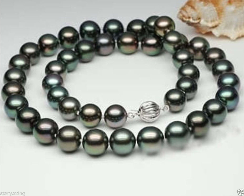 Free Shipping >>XFTN DRY Natural 9-10mm Black Tahitian Cultured Pearl Necklace 18