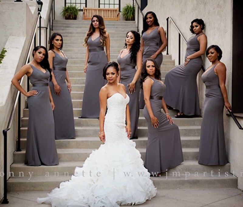 Long cheap chiffon silver grey bridesmaid dresses 2017 for Wedding party dresses 2017