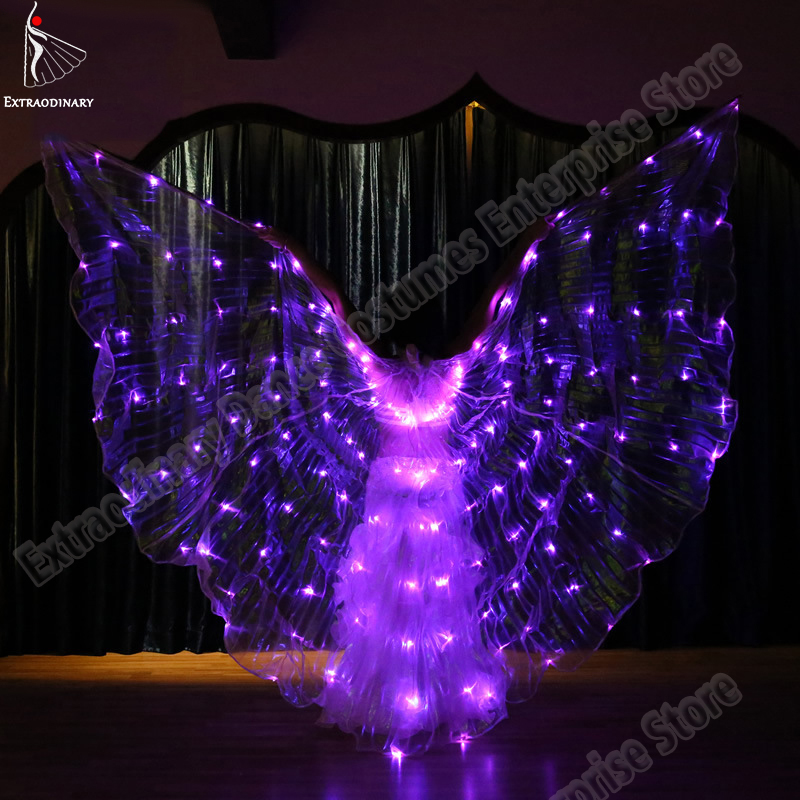 New Women Belly Dance Butterfly Wings Isis Led Dance Accessories DJ Lamp Props LED Light Up 360 Degrees Wing 6 Colors-Changing