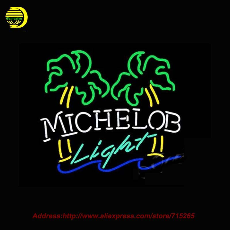 Michelob Light Dual Palm Tree Neon Sign Neon Bulbs Store Display Recreation Room Glass Tube Handcraft Light Cool neon Sign 31x24