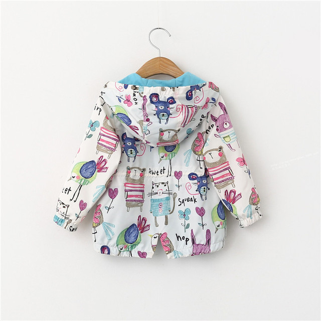 Spring Autumn Casual Girls Jackets Cartoon Print Vests Coats Graffiti Baby Outwear Hooded Zipper Toddler Girl Windbreaker