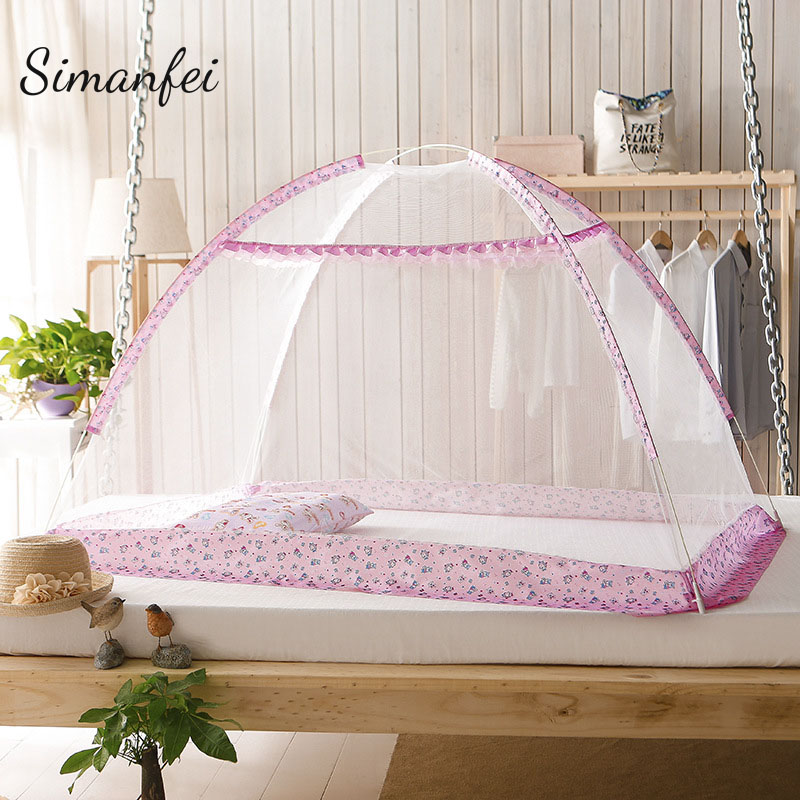 Simanfei Kids Bed Nets 2017 Folding Mosquito Nets Infants Children Sleeping Crib Pad Bedspread Travel Portable Mosquito Net Yurt