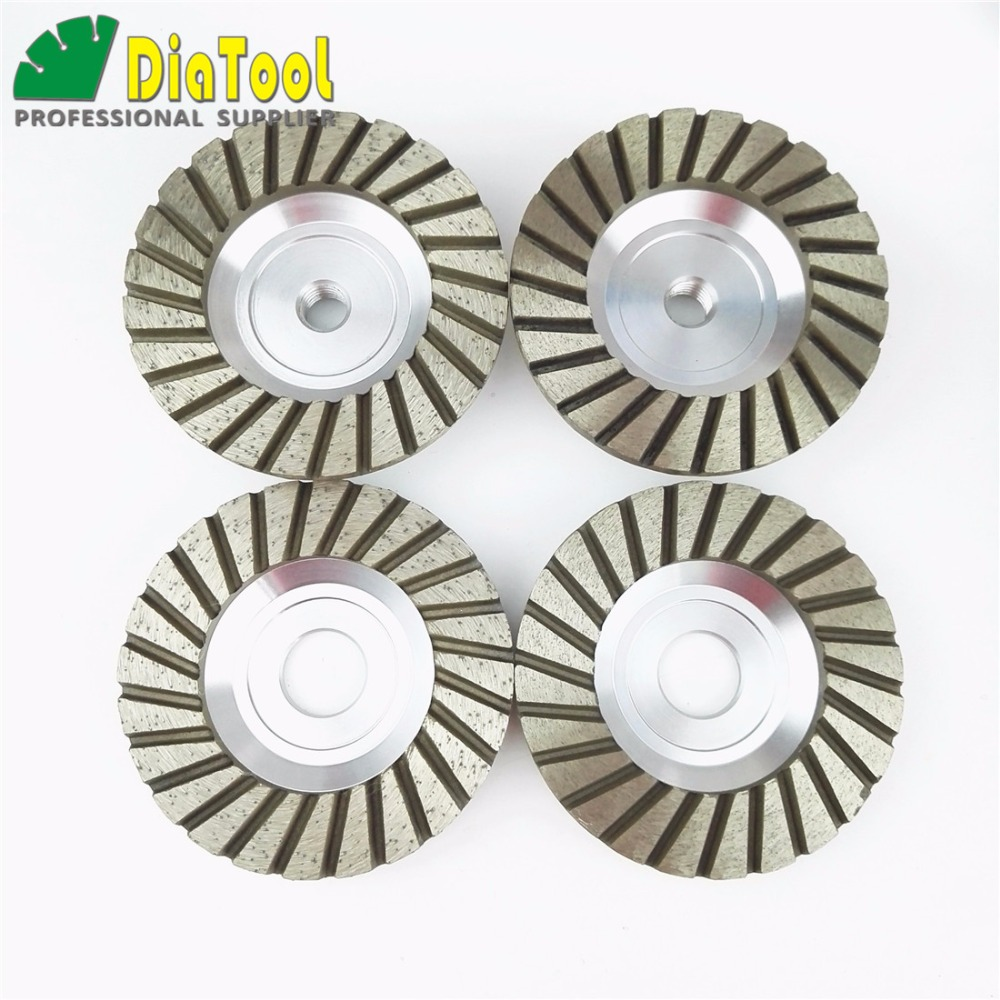 DIATOOL Diameter 4 Inch/100mm Aluminum Based Diamond Grinding Cup Wheel Bore 22.23mm and M14 Thread Grinding Disc Diamond Wheel 100mm od 20mm hole 35mm thickness hardware parts diamond grinding wheel 240