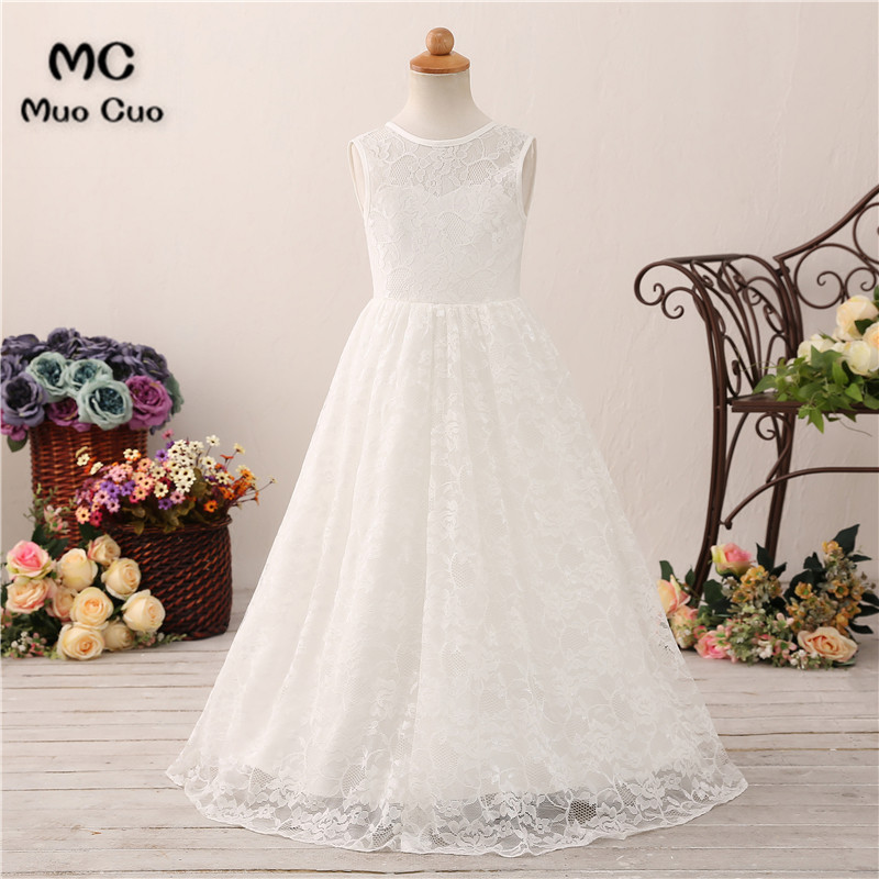 New 2018 Princes Lace   Flower     Girl     Dresses   For Weddings White Ivory Sleeveless First Communion   Dresses   For   Girls   Pageant   Dresses