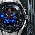 De lujo de Plata hombres del Acero Inoxidable militar Reloj Azul del Binario LED Puntero Impermeable Hombres deportes Relojes Reloj relogio masculino