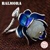 BALMORA 925 Sterling Silver Lotus Flower Open Rings For Women Mother Lover Gift Enameling Ring Retro