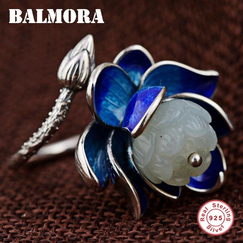 BALMORA 925 argent Sterling fleur de Lotus anneaux ouverts pour les femmes mère amant cadeau anneau émaillé rétro mode bijoux TRS21920