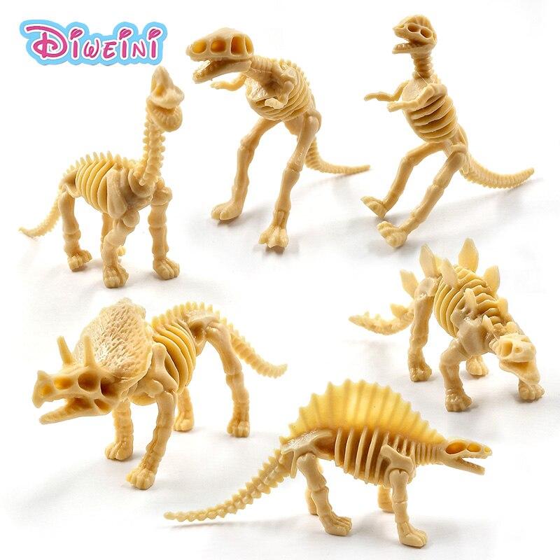 6pcs Simulation Dinosaurs Skeleton Animal Model Lifelike Action Figure Home Decor Gift For Boy Girl Children Kids Hot Toys Set