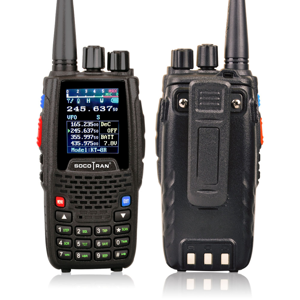 KT-8R Quad Band Walkie Talkie UHF VHF 136-147Mhz 400-470mhz 220-270mh 350-390mhz Handheld 5W UV Two Way Radio Color Display