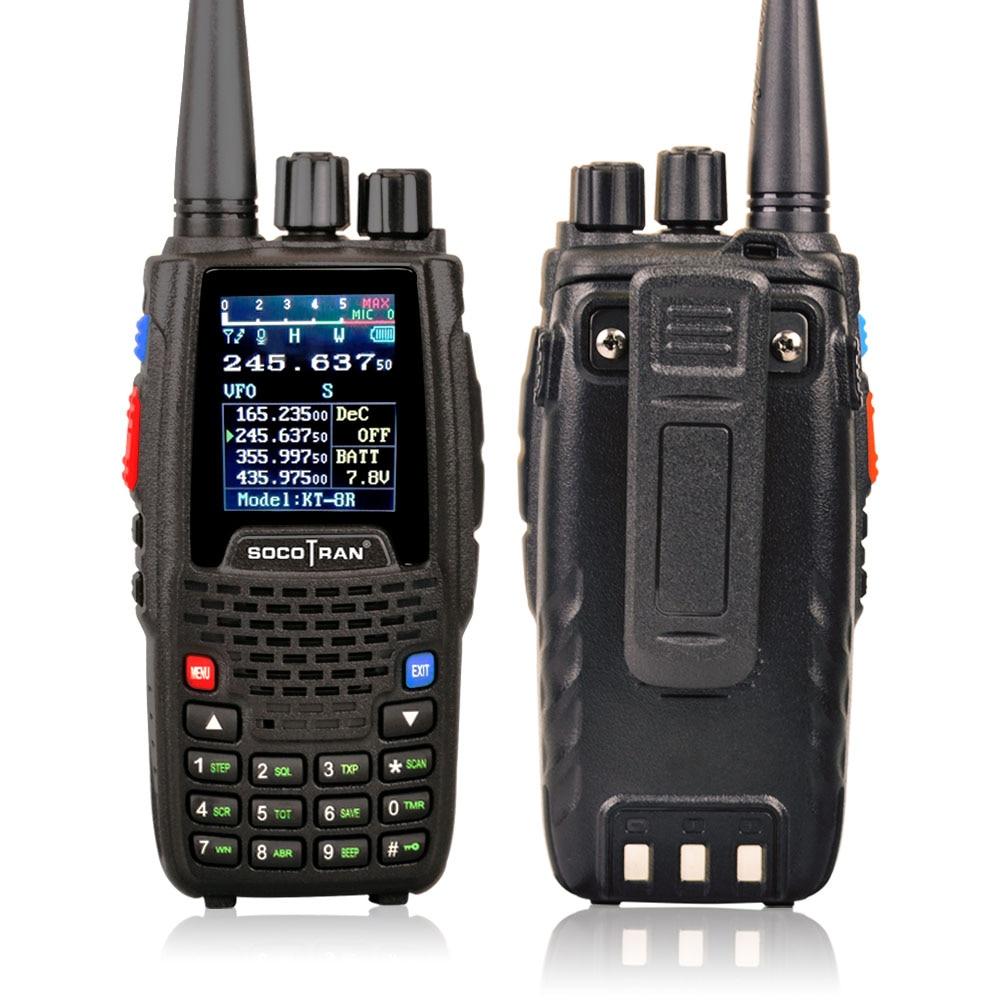 KT-8R Quad Band Walkie Talkie UHF VHF 136-147Mhz 400-470mhz 220-270mh 350-390mhz Handheld 5W UV Two Way Radio Color Display