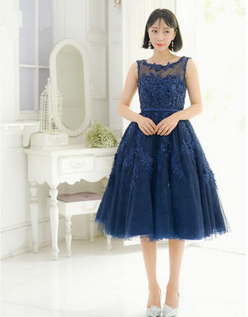 2017 Navy Blue Short Prom Dresses For Teens Lace Beads See Through