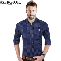 Dudalina 2017 New Autumn Fashion Brand Men Clothes Slim Fit Men Long Sleeve Shirt Men Polka