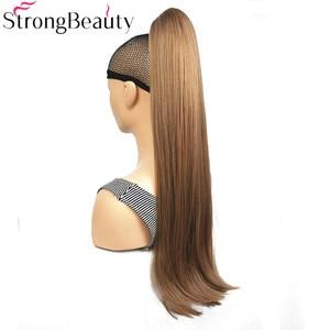 Image 2 - StrongBeauty extensiones de cabello con Clip para cola de caballo, largo sintético, recto