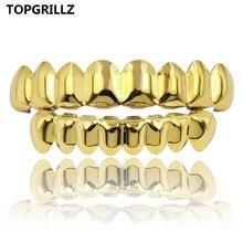 TOPGRILLZ 8/8 хип хоп ЗУБЫ Grillz комплект цвета: золотистый, серебристый цвет Топ и низ украшения для тела панк косплэй вечерние партии зуб грили подарки