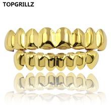 TOPGRILLZ 8 8 hip hop zęby Grillz zestaw złoty srebrny kolor Top amp Bottom ciała Biżuteria punk Cosplay party ząb Grille prezenty tanie tanio Moda Body Jewelry Skeleton Miedzi G-048 Metal Grillz Dental Grills Hiphop Rock