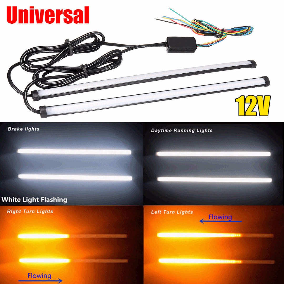 2pcs Universal 29.5cm Switchback Car Amber+White LED DRL Brake Tail Turn Signal Motorcycle Light Strip for Light Accessories