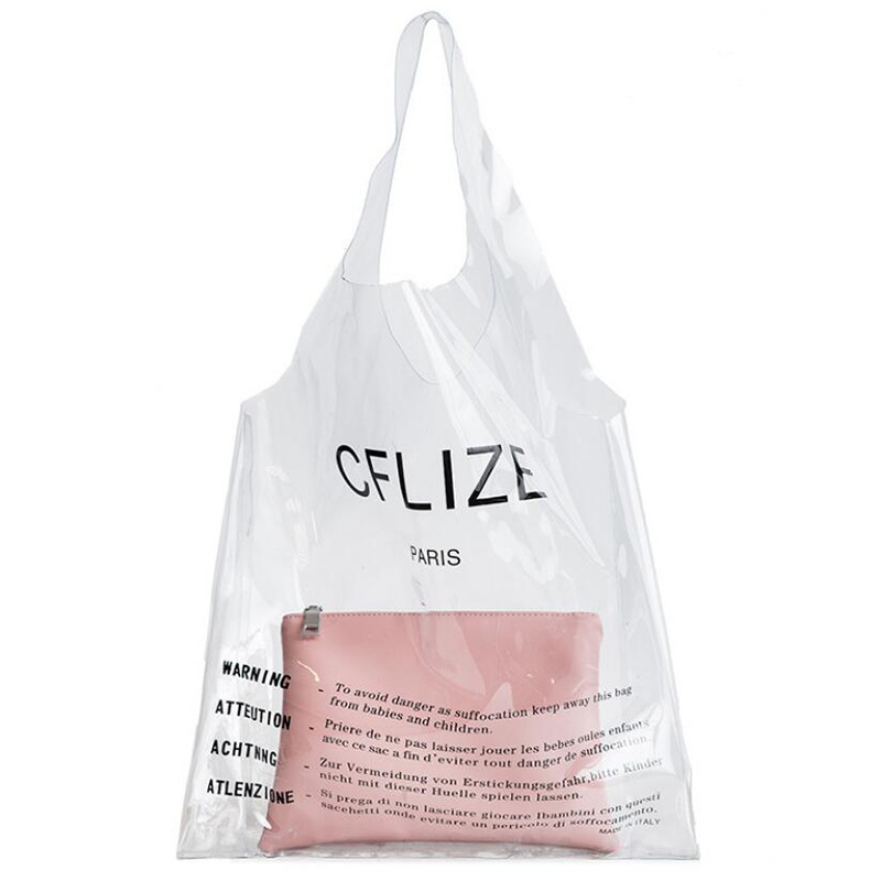Handbag Luxury Handbags Women Bags Designer Letter Transparent Shopping Bag Beach Bag PVC Material Women Shoulder Bags A6216