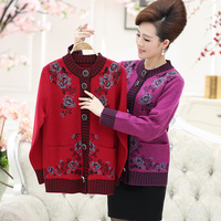 High Quality Winter Auutmn Beautiful Floral Intarsia Old Women S Thicken Wool Sweater Coat