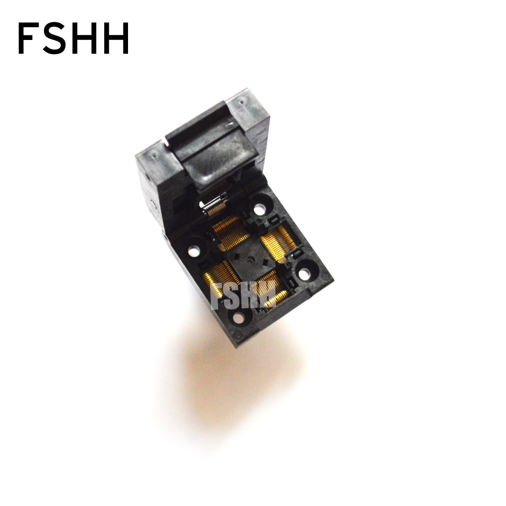 Clamshell TQFP64 LQFP64 ic socket QFP64 test socket Pitch=0.5mm Size=10x10mm 12x12mm