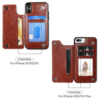 Retro PU Leather Case For iPhone X ulti Card Holders Case Cover 3
