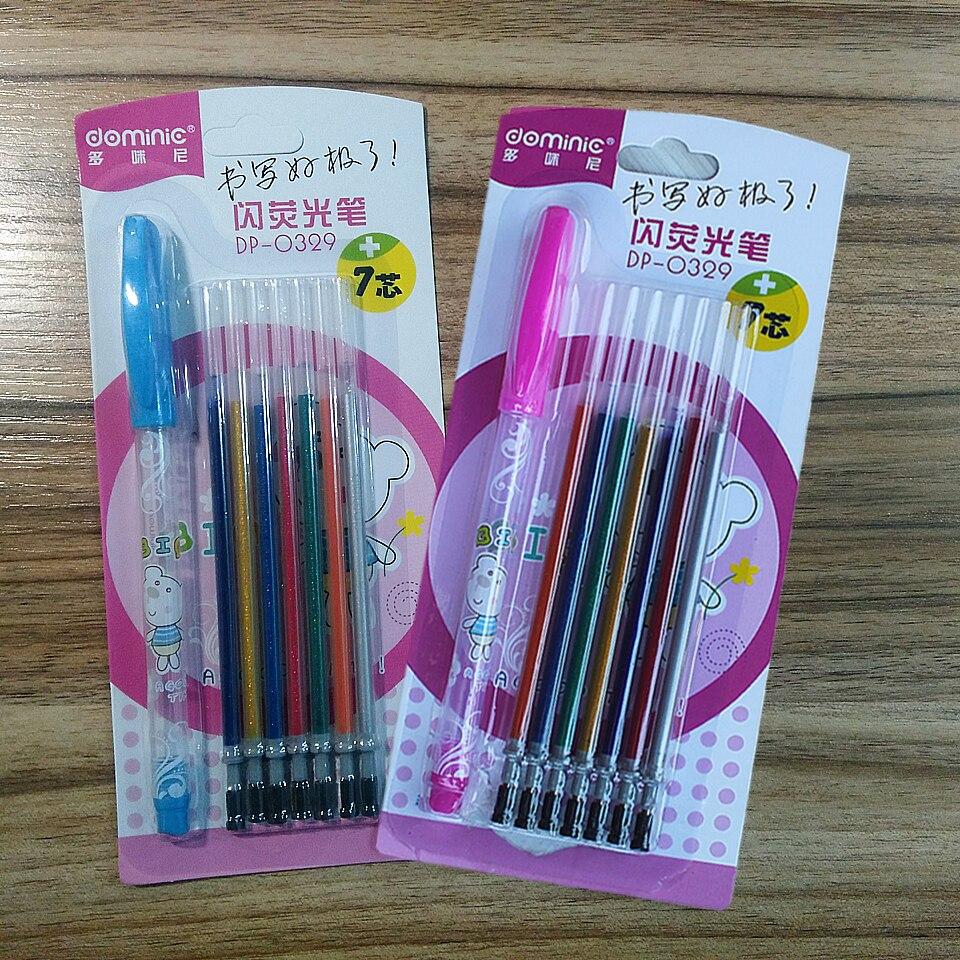 aliexpress com buy dominic 7color gel pen flash metal color for