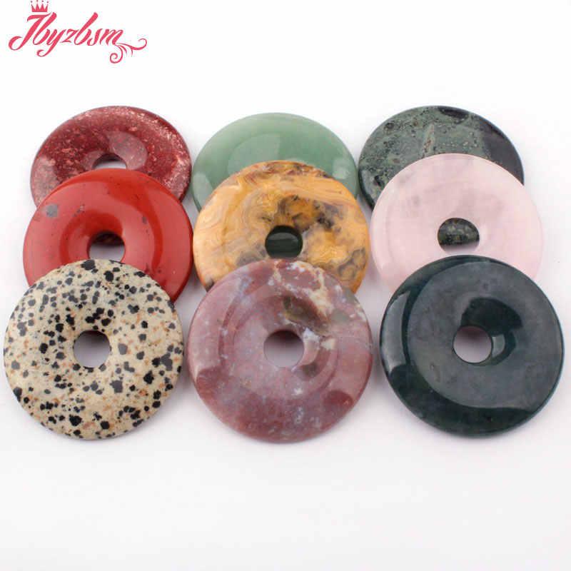 50mm Natural Donut Round Aventurine,Fluorite,Quartz,Stone Beads Pandant 1 Pcs,For DIY Women Necklace Bracelet Jewelry Making