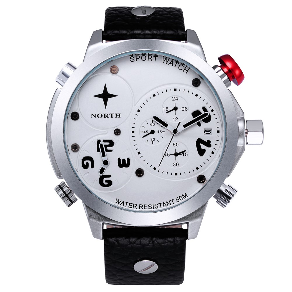 Fashion North Men Casual Watches Dual Time Unique Stylish Quartz Sport Business Man Wristwatch Waterproof Genuine Leather Gift ristos luxury men casual watches stainless steel waterproof sport business man wristwatch unique stylish silver blue male clock