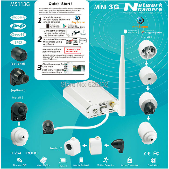 US $247 0 5% OFF New Emerging Security Mini 3G Network P2P 720P CCTV Camera  Support 128GB SD Card-in Surveillance Cameras from Security & Protection